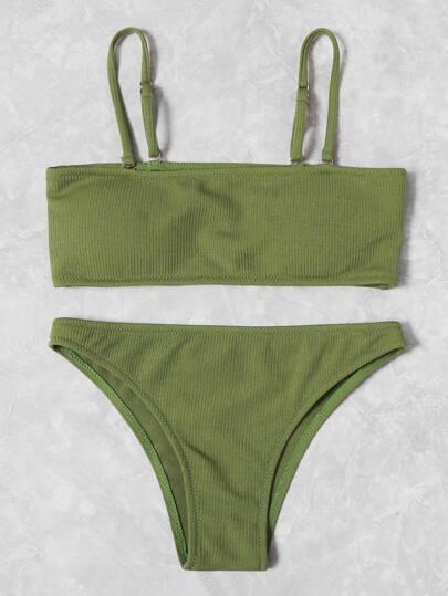 Set de bikini bandeau de canalé