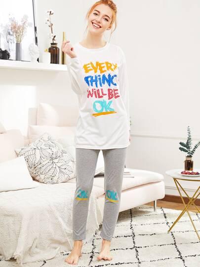 Ensemble de pyjama tee-shirt imprimé des lettres & Pantalons martelé