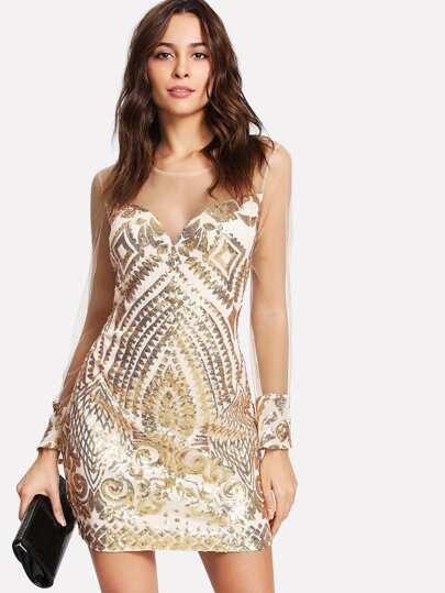 Sequin Contrast See Through Mesh Dress