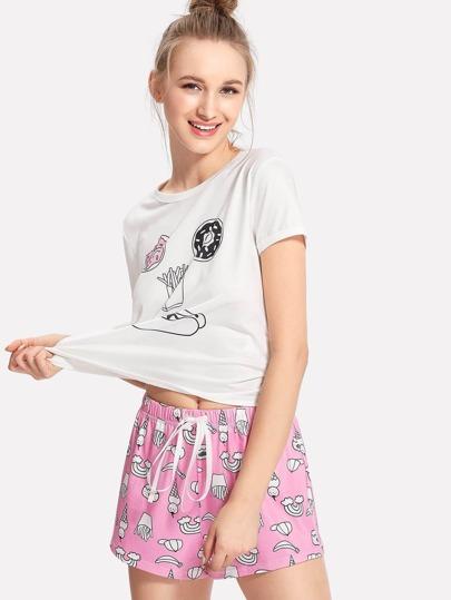 Conjunto de pijama con impresión con cinturón