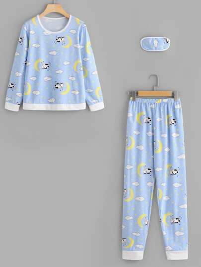 Animal Print Long Pajama Set With Eyeshade