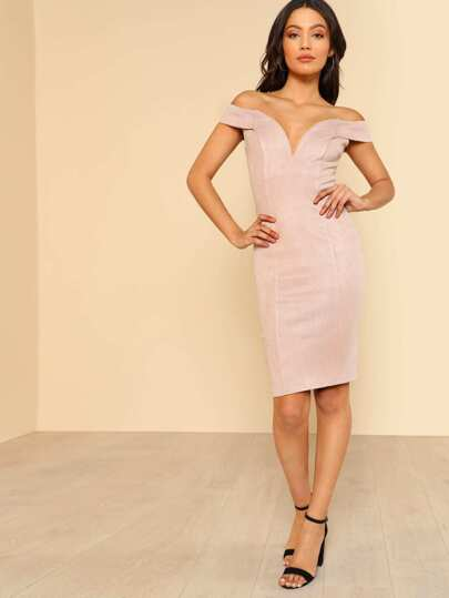 V Neck Off Shoulder Dress ROSE