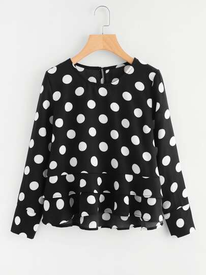 Polka Dot Tiered Hem Keyhole Top