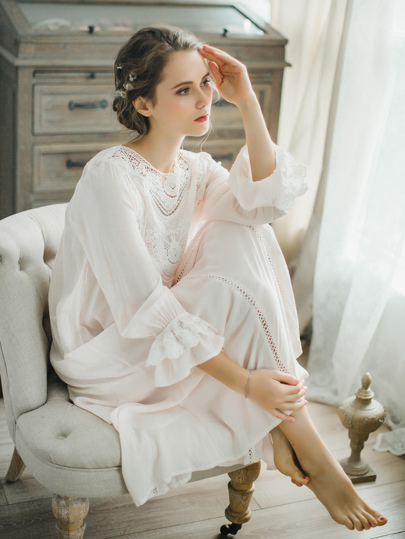 Crochet Lace Fluted Sleeve Nightgown