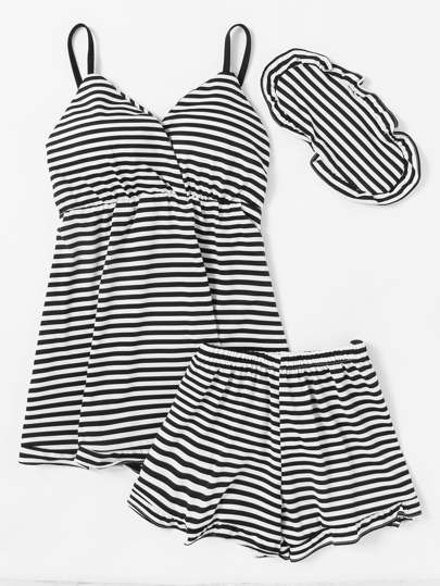 Striped Slips And Shorts With Eyeshade