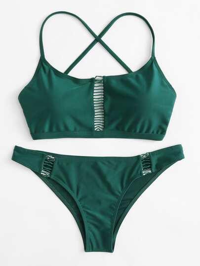 Set de bikini de espalda con tiras cruzadas con abertura
