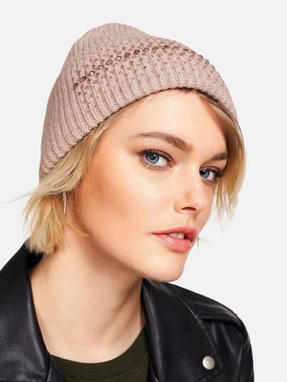 Bonnet tricoté avec strass