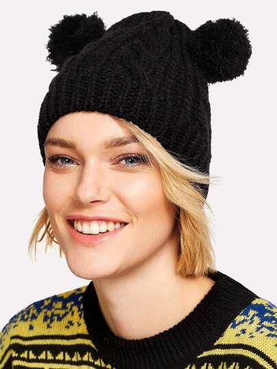 Pom Pom Ear Knit Beanie Hat