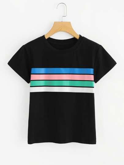 Contrast Striped Print Tee
