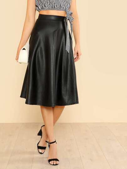 PU High Rise Flare Midi Skirt BLACK