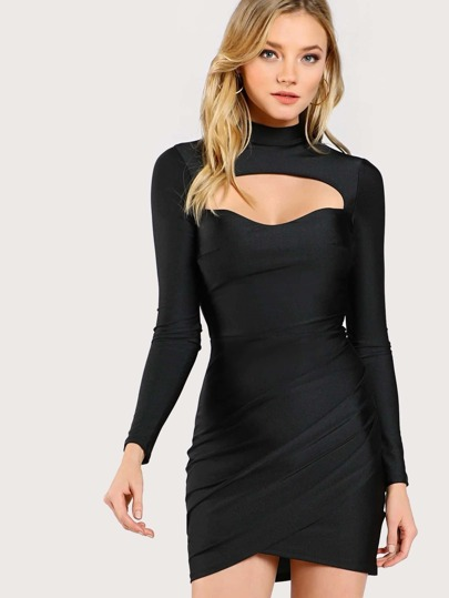 Front Cut Out Mock Neck Dress BLACK