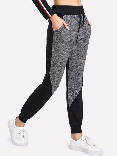 Marled Panel Drawstring Sweatpants