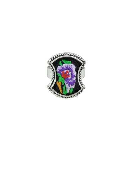 Purple Handmade Embroidery Flower Pattern Geometric Ethnic Rings