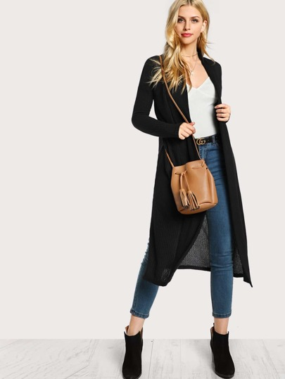 Split Side Longline Cardigan