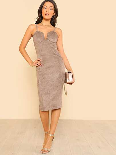 Faux Suede Bustier Inspired Dress TAUPE