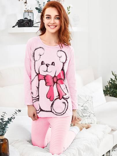 Ensemble de pyjama tee-shirt trapèze avec la chute de l'épaule & Leggings
