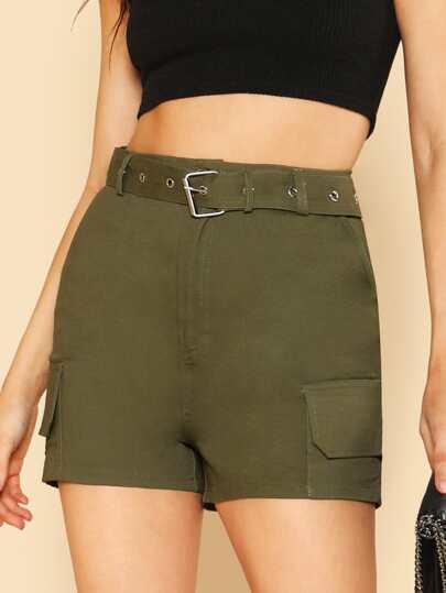 Belted Cargo Shorts OLIVE