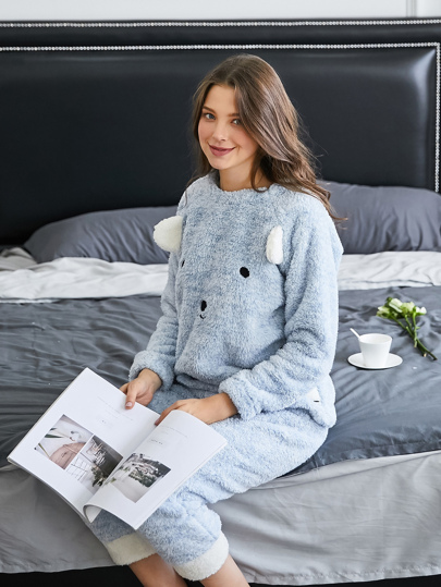 Cartoon Bear Embroidered Plush Pullover & Pants PJ Set