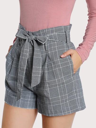 Tie Waist Inseam Pocket Side Shorts