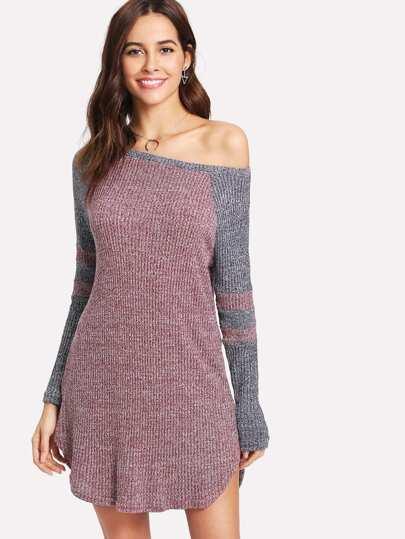 Contrast Raglan Sleeve Curved Hem Slub Knit Dress