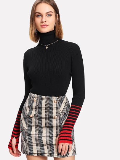Striped Sleeve Jumper With Thumb Holes