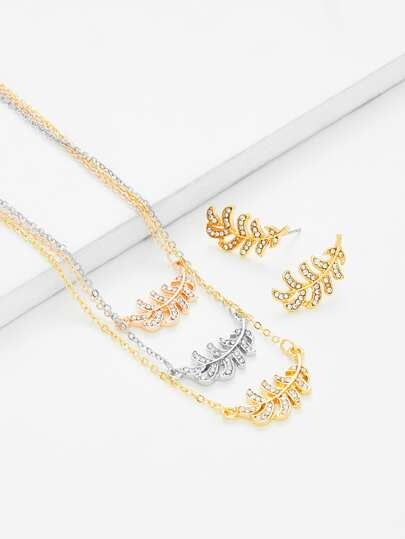Leaf Pendant Chain Necklace & Earring Set