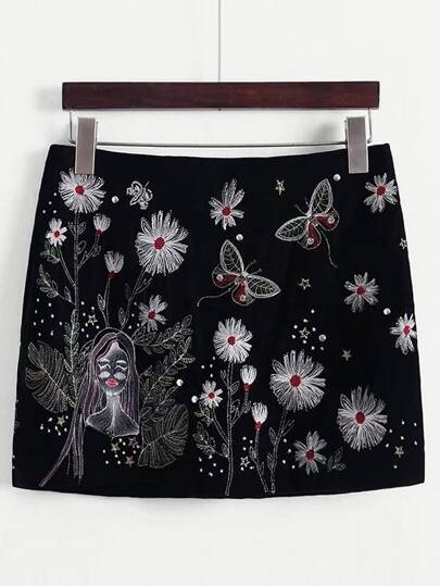 Flower Embroidery Studded Detail Skirt