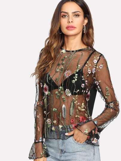 Camiseta transparente de malla con bordado botánico