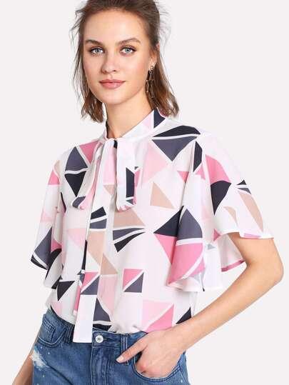 Tie Neck Geometric Print Flutter Sleeve Top