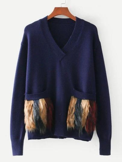 Faux Fur Embellished Pocket Sweater