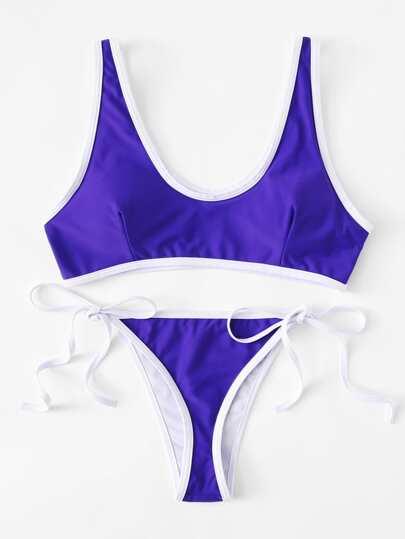 Contrast Piping Tie Side Bikini Set