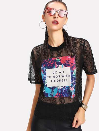Patched Front Sheer Lace Top