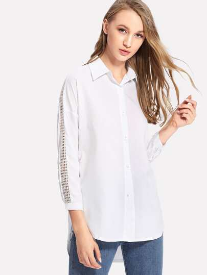 Cut Out Sleeve Dip Hem Shirt