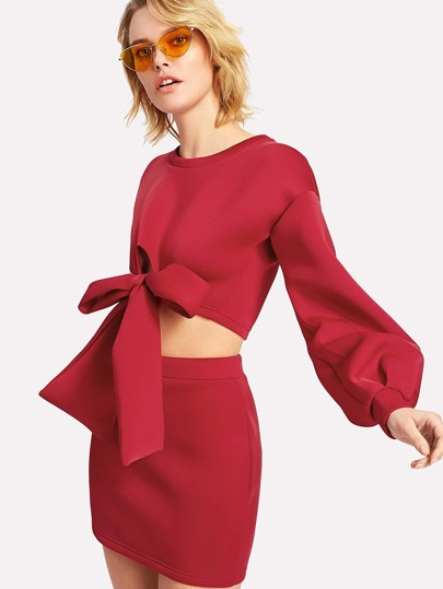 Lantern Sleeve Knit Front Top With Skirt