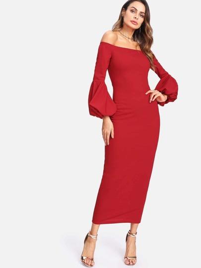 Lantern Sleeve Bardot Dress