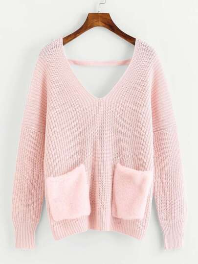 Lace Up Back Contrast Faux Fur Pocket Sweater