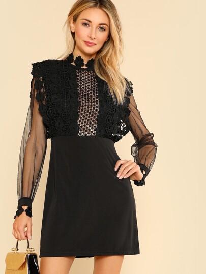 Guipure Lace Applique Mesh Bodice Dress
