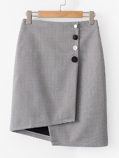Button Decor Asymmetrical Plaid Skirt