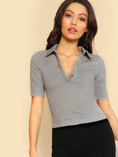 Ribbed Button Down Collared Top GREY