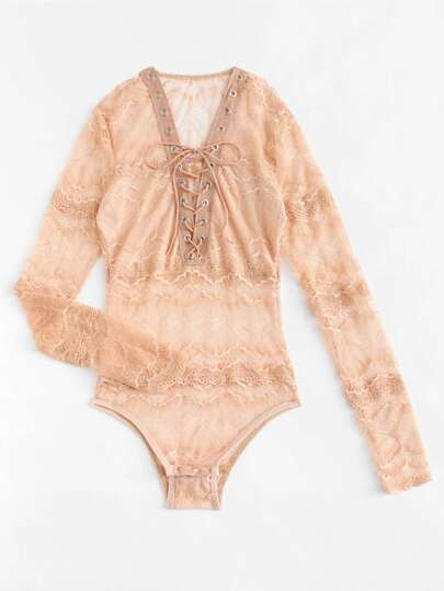 Lace Up Lace Teddy