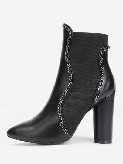 Chain Design Block Heeled Ankle Boots