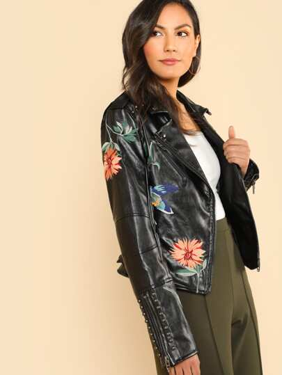 Leather Floral Embroidered Studded Moto Jacket BLACK