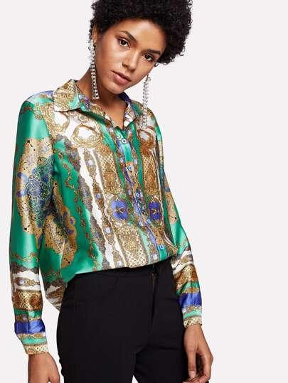 Ornate Print Button Up Shirt