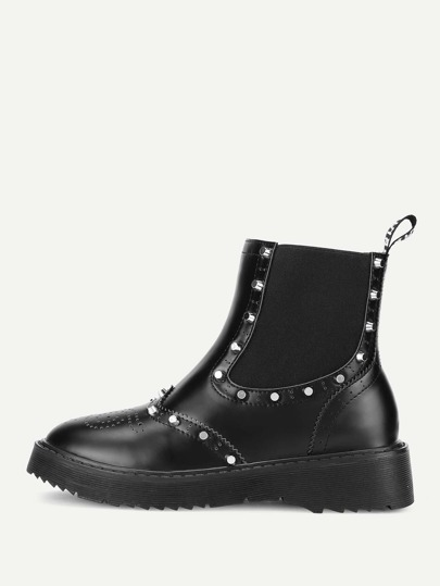 Studded Detail Round Toe PU Ankle Boots