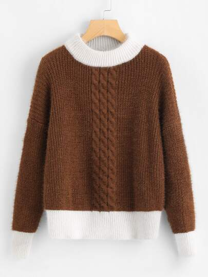 Contrast Trim Drop Shoulder Cable Knit Sweater