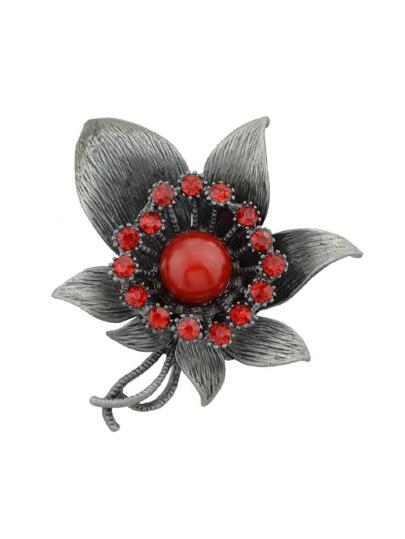 Broche style rétro en forme de fleur avec strass -rouge