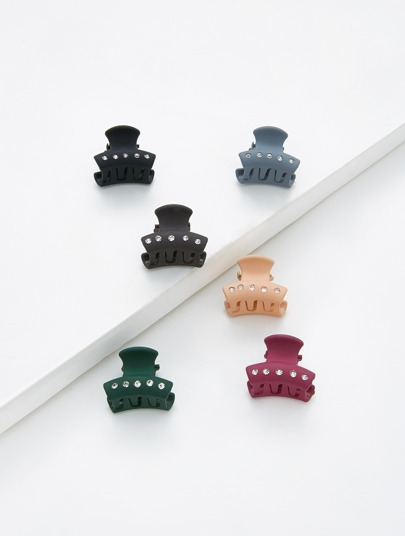 Rhinestone Decorated Claw Clip 6pcs