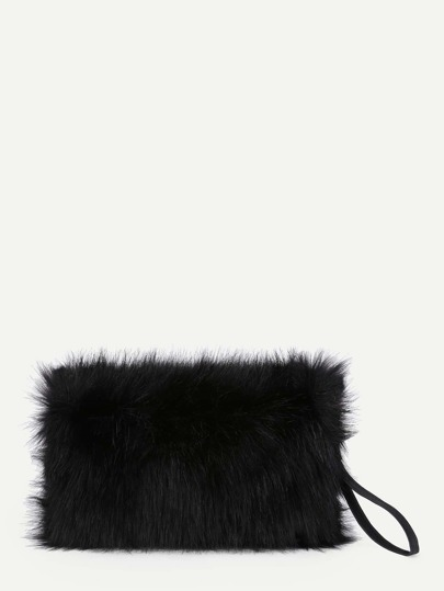 Faux Fur Overlay Clutch Bag