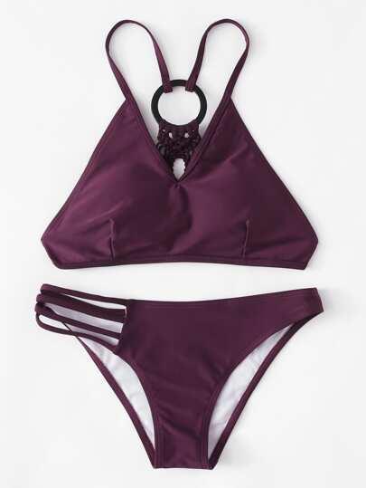 Woven Back Ring Bikini Set