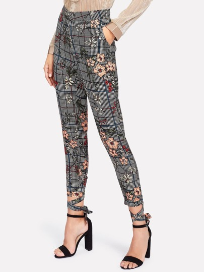 Flower And Plaid Print Pants